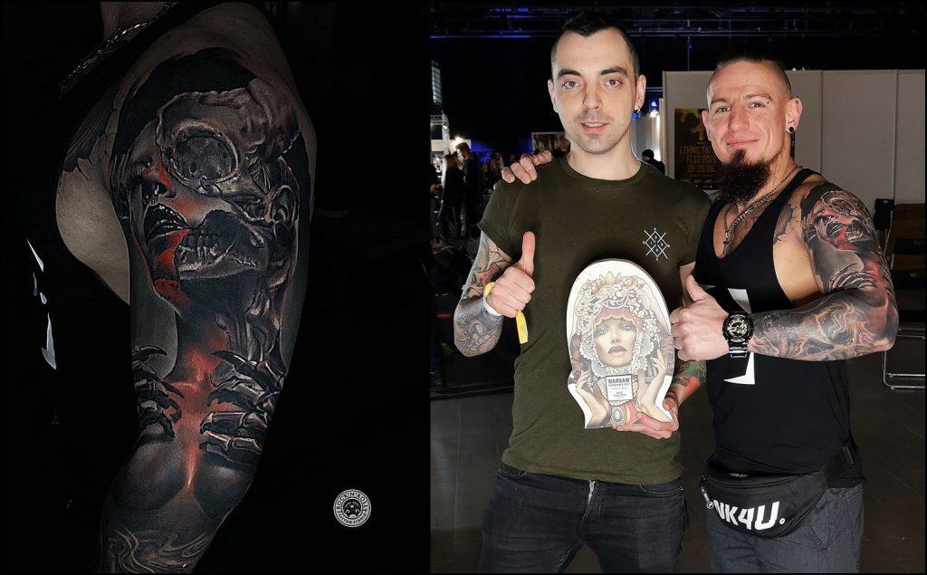 Realistyczny tatuaż na ramieniu