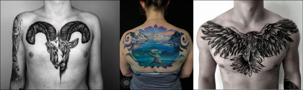 Tatuaże na plecach i klatce piersiowej