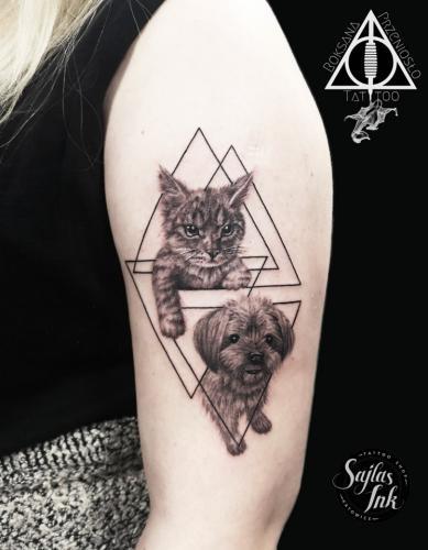 Kot i psiak połączone techniką Linework